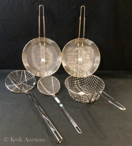 Assorted Stainless Round Baskets & Strainers - 1 Lot (5 Items)