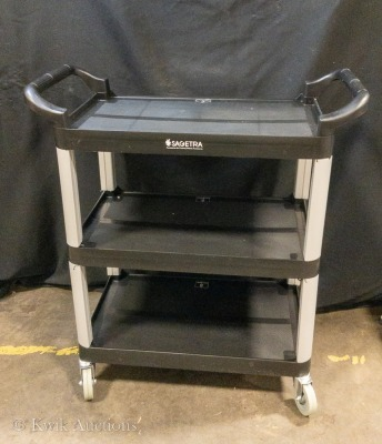 17'' x 33.5'' x 37.5'' 3 Tier Black Bussing Cart on Casters - (12002B)