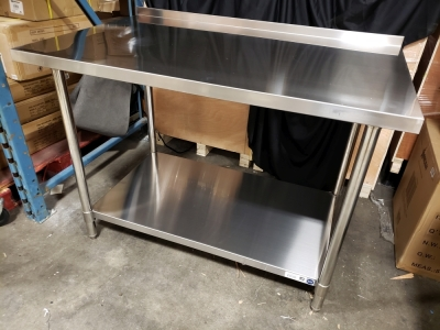 30'' x 48'' Stainless Work Table with 1-1/2'''' Backsplash - JR81349