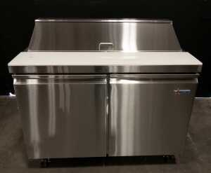 "47"""" Refrigerated Prep Table with 12 x 1/6 Insert Top with Lid - Omcan 50046"