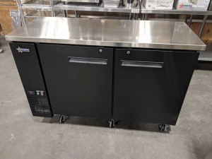 "61"""" Solid Two Door Back Bar Cooler, 15.8 cubic feet, Overall Dims 24"""" x 60"""" x 41"""", Omcan 50059"