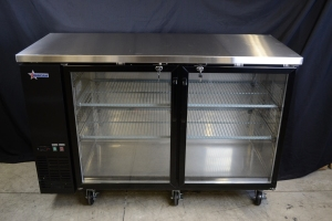 "61"""" Glass Two Door Back Bar Cooler, 15.8 cubic feet, Overall Dims 60.8"""" x 24.4"""" x 35.6"""", Omcan 50060"