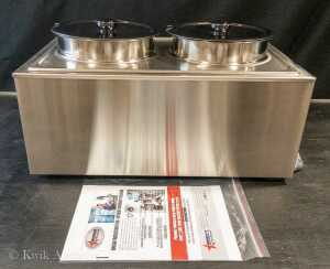 Double Food Warmer / Bain Marie with 2 Round Inserts & Lids - Model SB9009