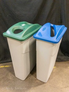 20 Gallon Slim Grey Recycling Bins (x2 Omcan 43299) with Blue Lid (Omcan 43300) and Green Lid (Omcan 43302)