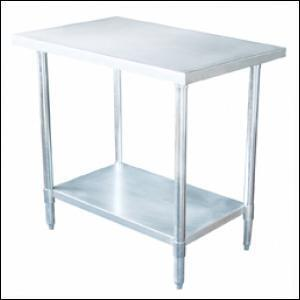 24 inch x 60 inch Stainless Work Table with Galvanized Under Shelf - 18 Gauge Stainless - 82460G
