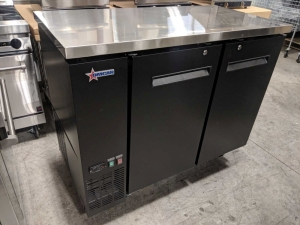 "49"" Solid Two Door Back Bar Cooler, 11.8 cubic feet, Overall Dims 48.8"" x 24.4"" x 35.6"", Omcan 50057"