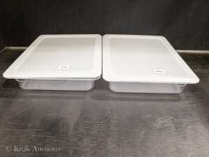 1/2 Size Poly 2.5 inch Deep Inserts with Seal Lids - 38122 & 35530 - Lot of 2 Inserts & Seal Lids
